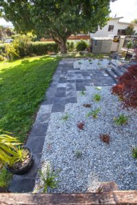Paving with gravel landscaping