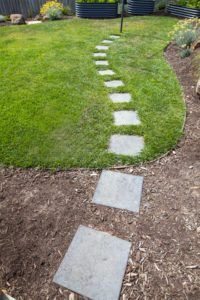 Stepping stones onto lawn