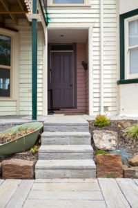 paved steps to house