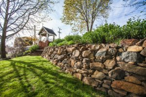 gorgeous retaining wall and garden