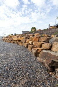 garden boulders with earthworks